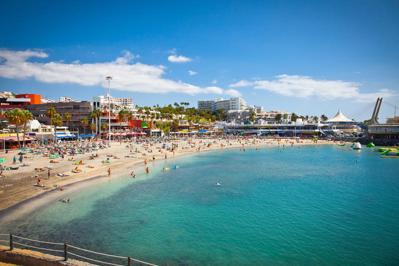 Send beach Playa de las Americas on Tenerife, Spain. royalty free stock photography