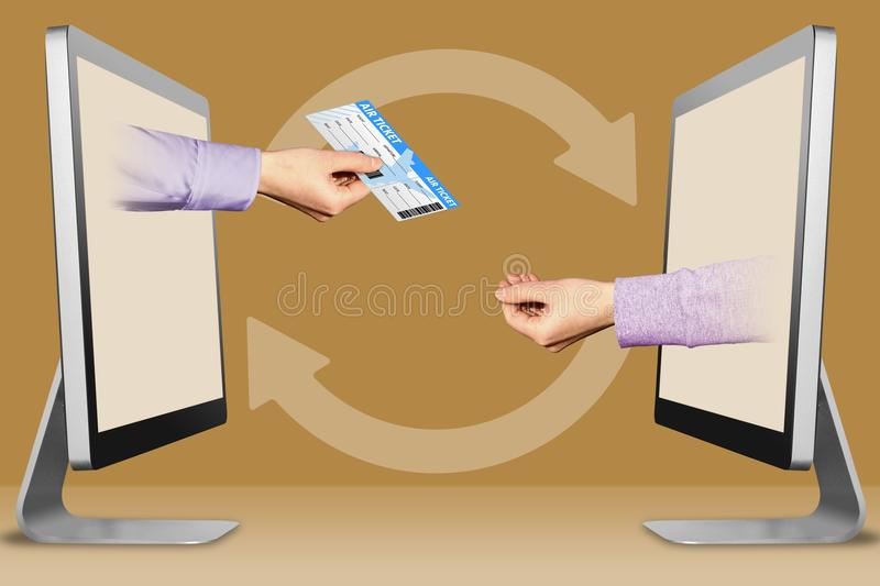 Send e-Ticket online concept, two hands from monitors. air ticket and pleading gesture. 3d illustration. Send e-Ticket online concept, hands from displays. air vector illustration