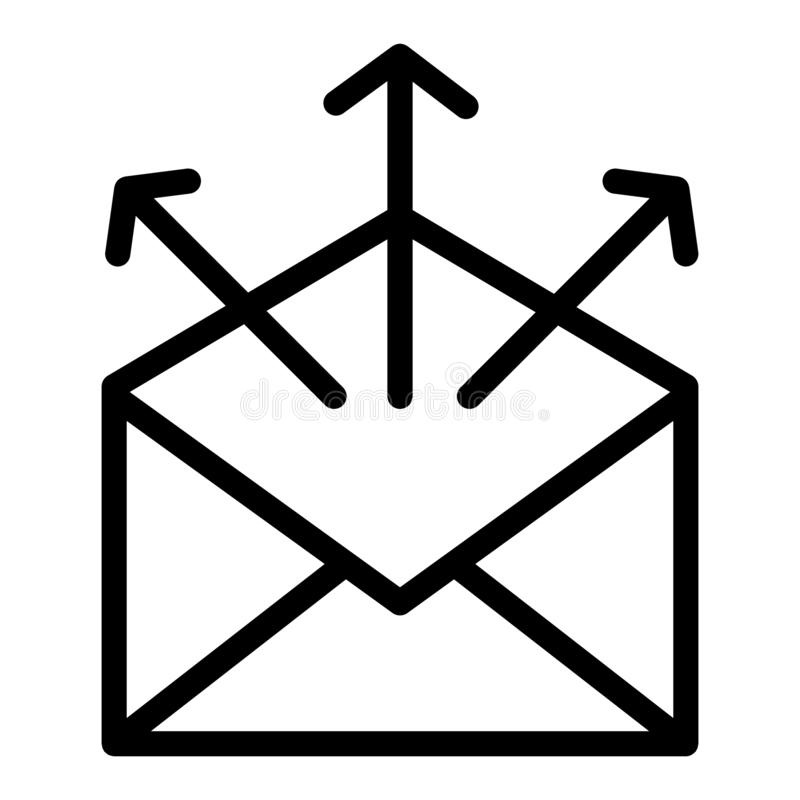 Send mail line icon. Mailing letters vector illustration isolated on white. Envelope with arrows outline style design. Designed for web and app. Eps 10 vector illustration