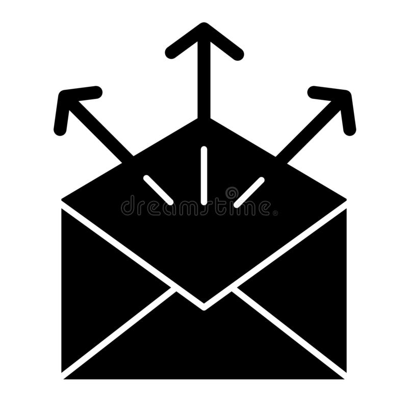 Send mail solid icon. Mailing letters vector illustration isolated on white. Envelope with arrows glyph style design. Designed for web and app. Eps 10 vector illustration