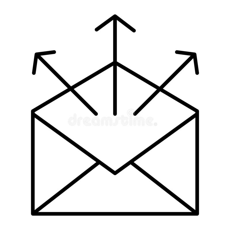 Send mail thin line icon. Mailing letters vector illustration isolated on white. Envelope with arrows outline style. Design, designed for web and app. Eps 10 vector illustration