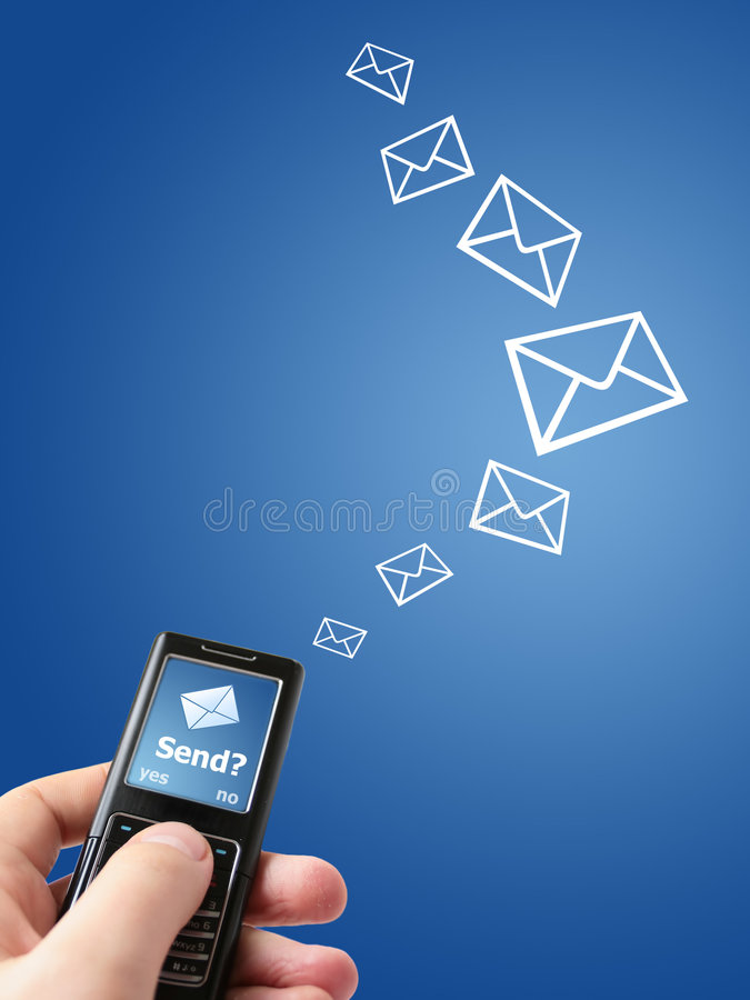 Send message?. Hand holding mobile phone. Sending new text message concept royalty free stock photos