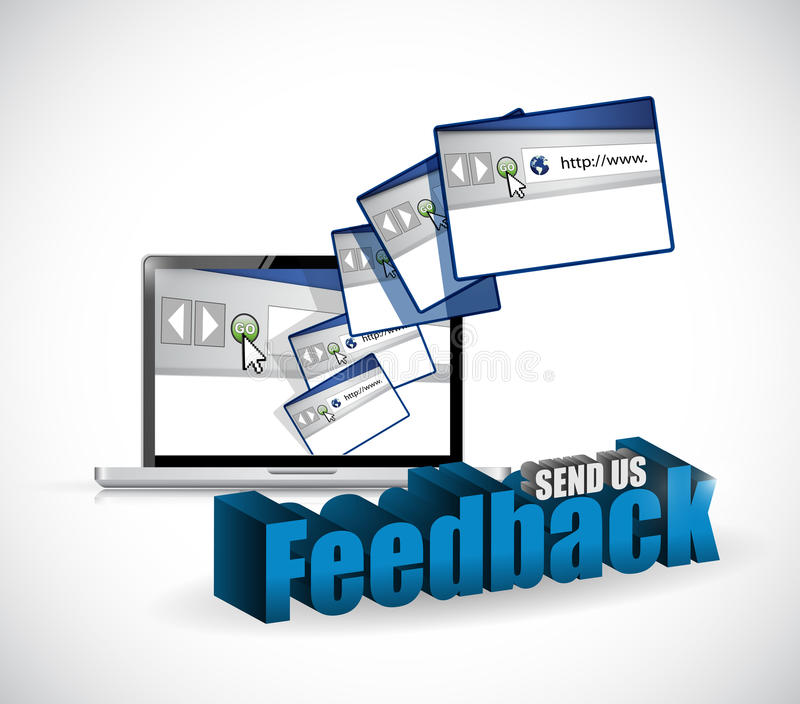 Send us feedback browsers sign illustration design. Over white stock illustration