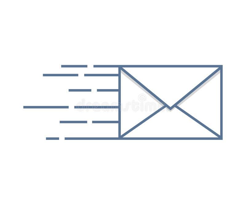 Senden der Postikone Taube als Symbol der Liebe, pease Umschlag fasten Lieferung stock abbildung