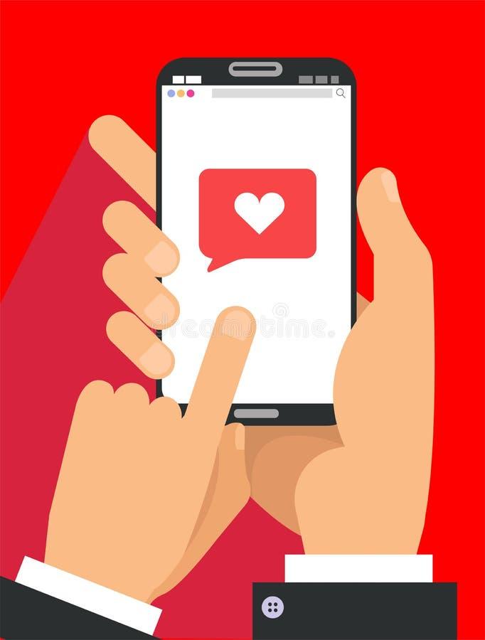 Senden des Liebesmitteilungskonzeptes Zwei männliche Hände im Klagenholdingtelefon mit Herzen, senden Knopf auf Schirm FingerTouc vektor abbildung
