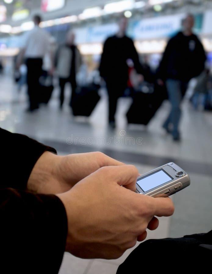 Senden Sie Meldung vom Flughafen stockfotos