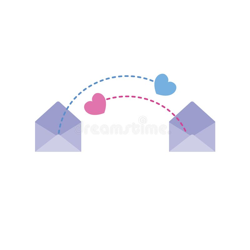 Senden von Herzen über E-Mail stockfotos