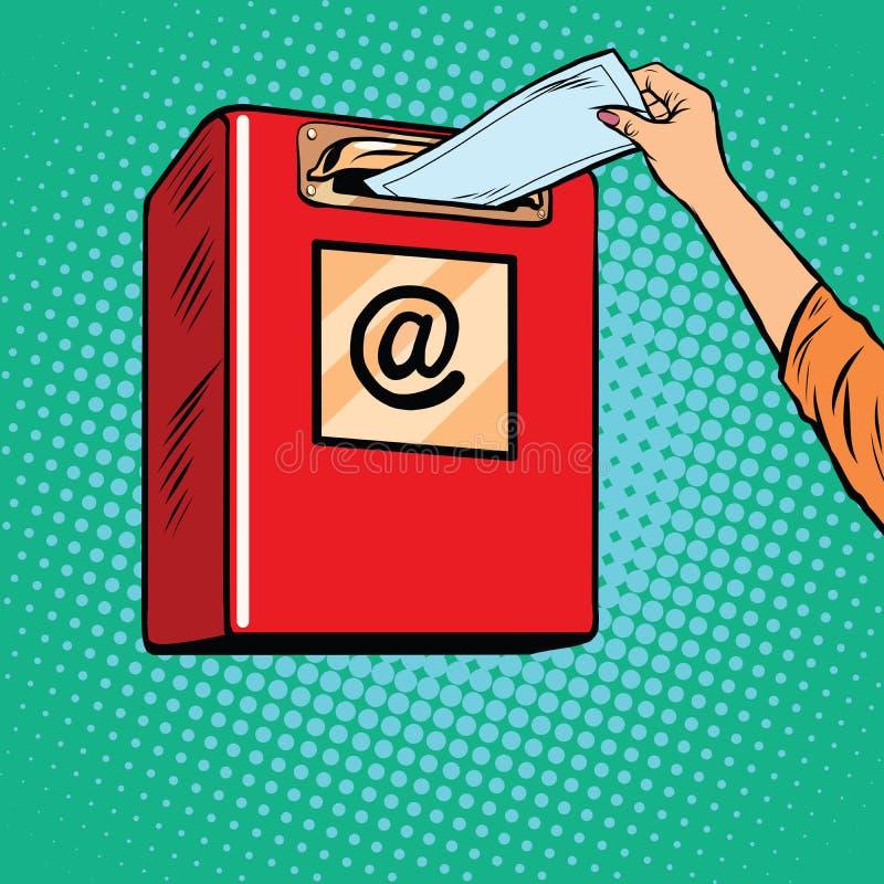 Senden von Papierbriefen Inbox lizenzfreie abbildung