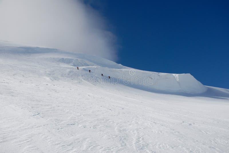 Senderismo de cuatro escaladores. fotos de archivo