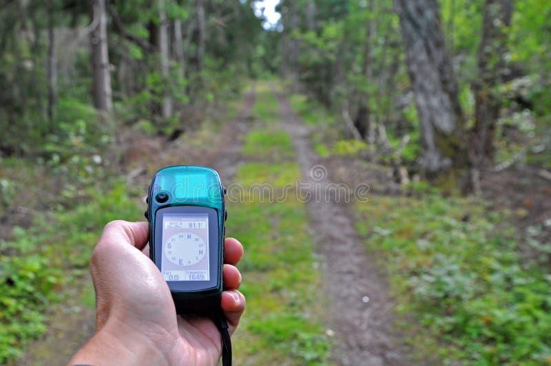 Senderismo del GPS imagen de archivo