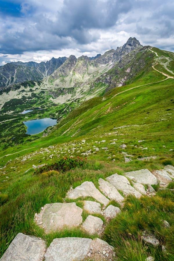 Sendero estrecho en las montañas de Tatras imagen de archivo