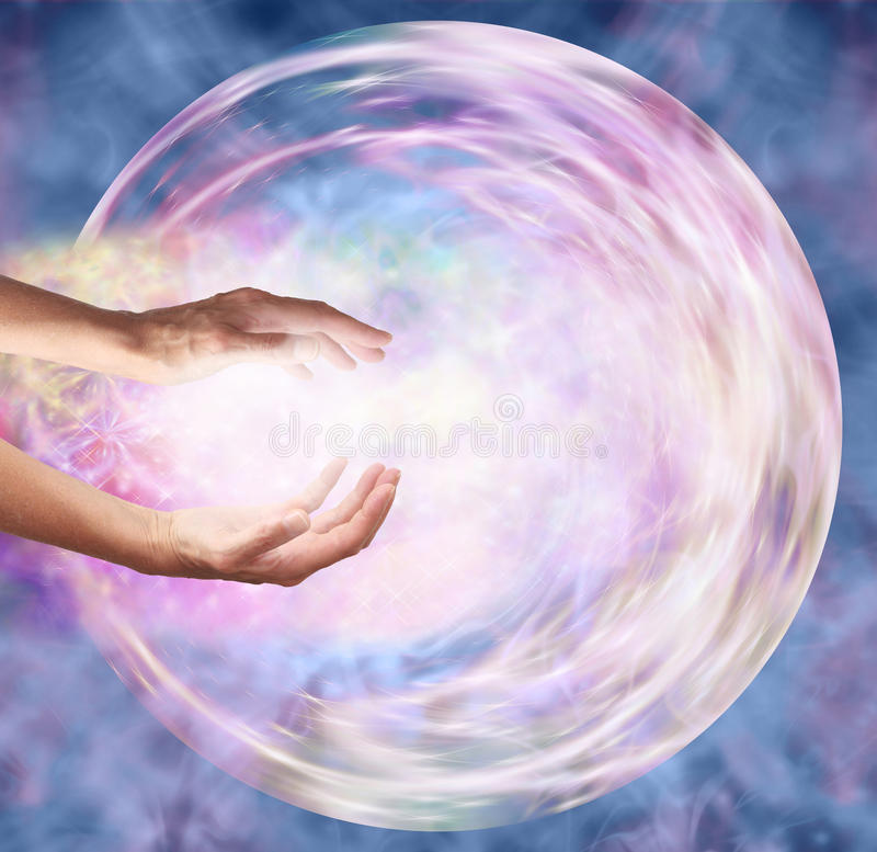 Sending Distant Healing to Embryo. Female hands appearing to break through outer edge into ethereal circular energy formation depicting sending healing energy vector illustration