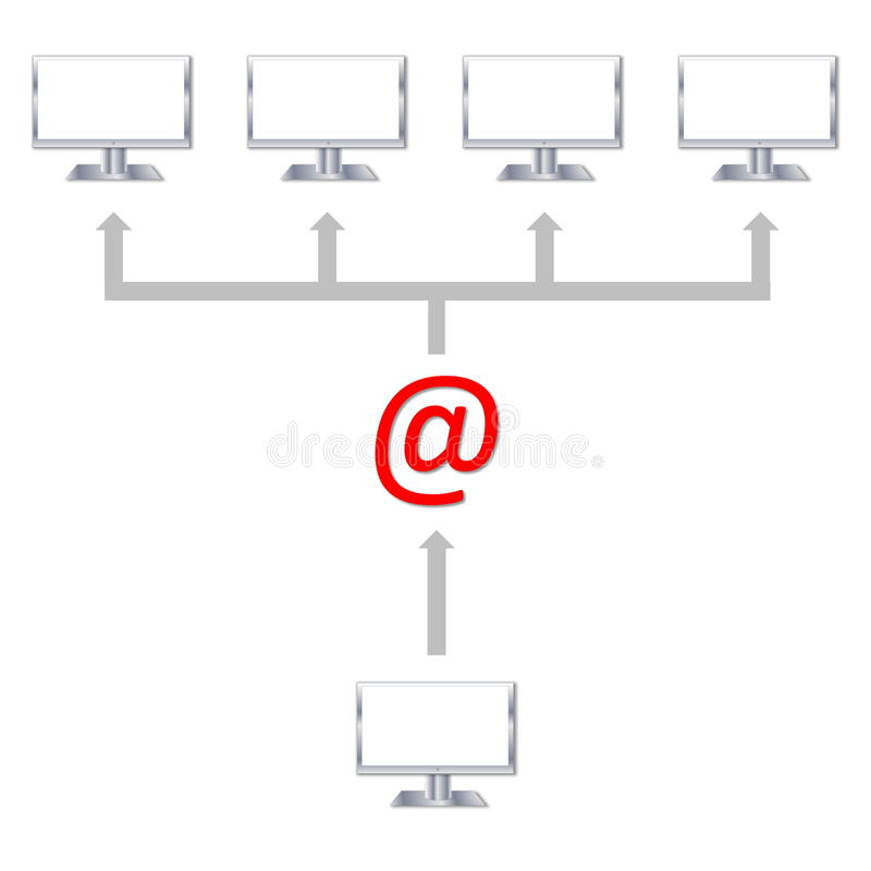Sending an email royalty free illustration