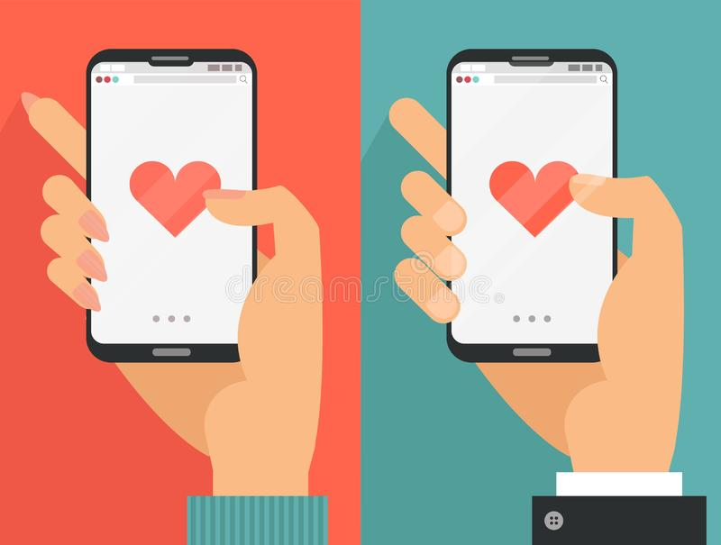 Sending love message concept. Male and female Hands holding phone with heart, send button on screen.Finger touch screen. Vector royalty free illustration