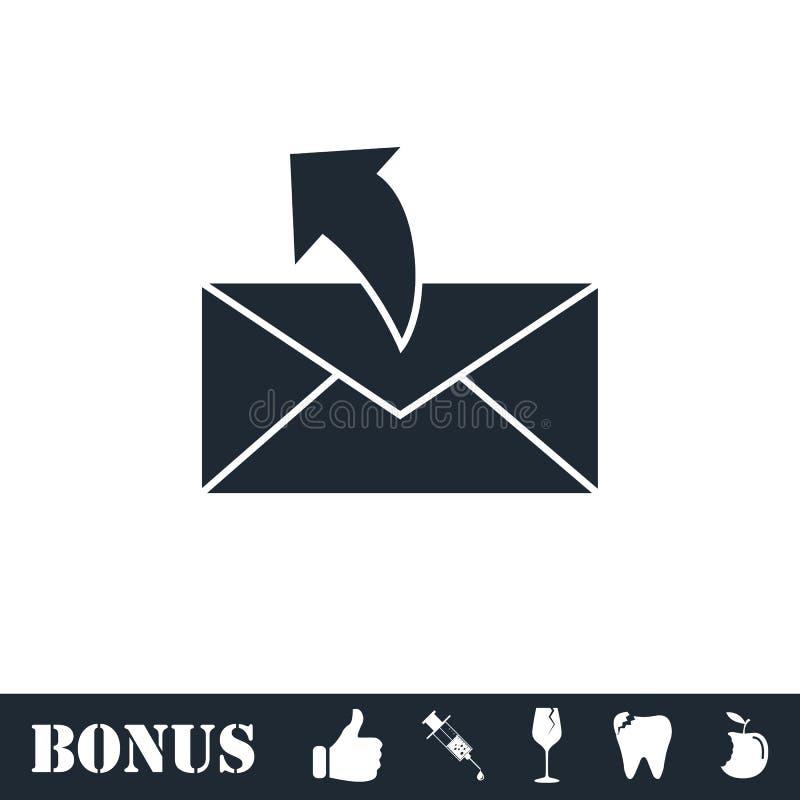 Sending mail icon flat. Vector illustration symbol and bonus pictogram royalty free illustration