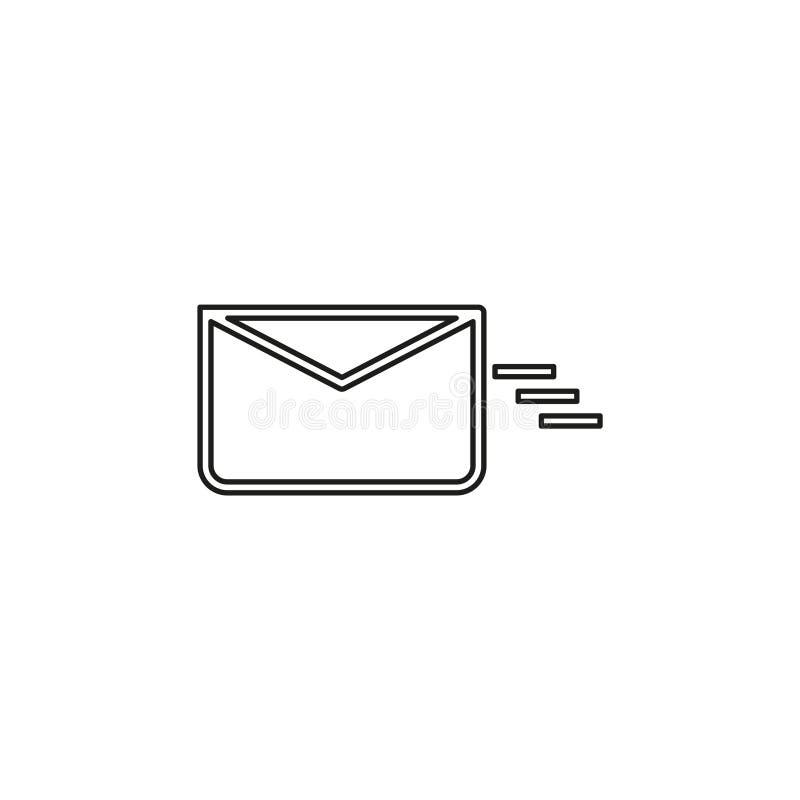 Sending mail or message icon, envelope. Illustration - vector mail symbol, send letter isolated. Thin line pictogram - outline editable stroke stock illustration
