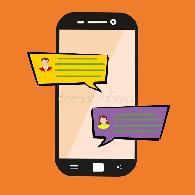 Sending message. Concept of a mobile chat or conversation of people via mobile phones. Flat cartoon illustration for web banners,. Sites, infographics design stock illustration
