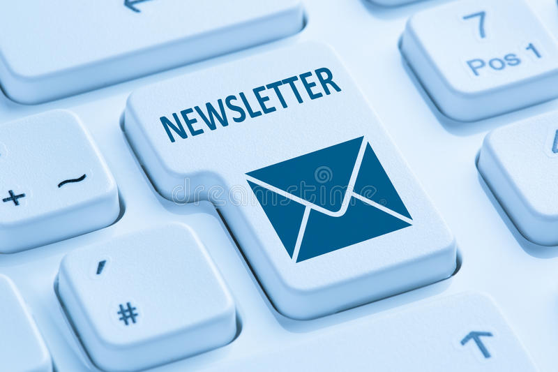 Sending newsletter internet business marketing campaign blue com. Puter keyboard letter symbol royalty free stock photo
