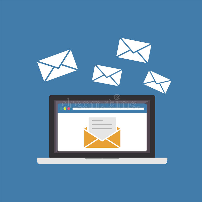 Sending or receiving email. Email marketing vector illustration