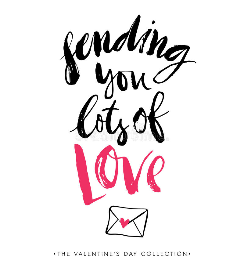Sending you lots of Love. Valentines day greeting card. vector illustration