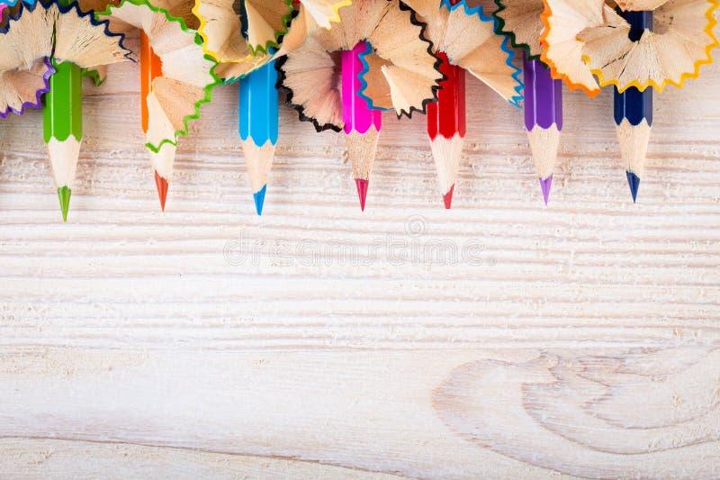 Sendo criativo com lápis e aparas do lápis imagens de stock royalty free
