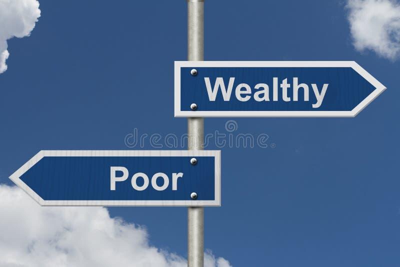 Sendo rico contra ser pobre imagens de stock
