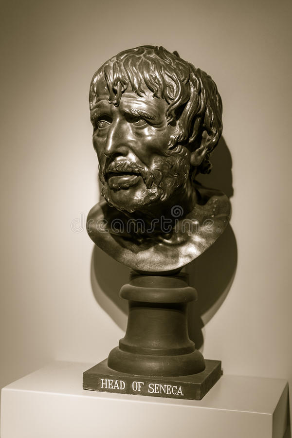 Seneca bust, captured at The Holburne Museum. ENGLAND, BATH - 23 NOV 2015: Seneca bust, captured at The Holburne Museum royalty free stock images