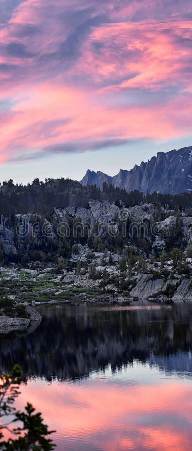 Seneca Lake in the Wind River Range, Rocky Mountains, Wyoming, views from backpacking hiking trail to Titcomb Basin from Elkhart P stock image