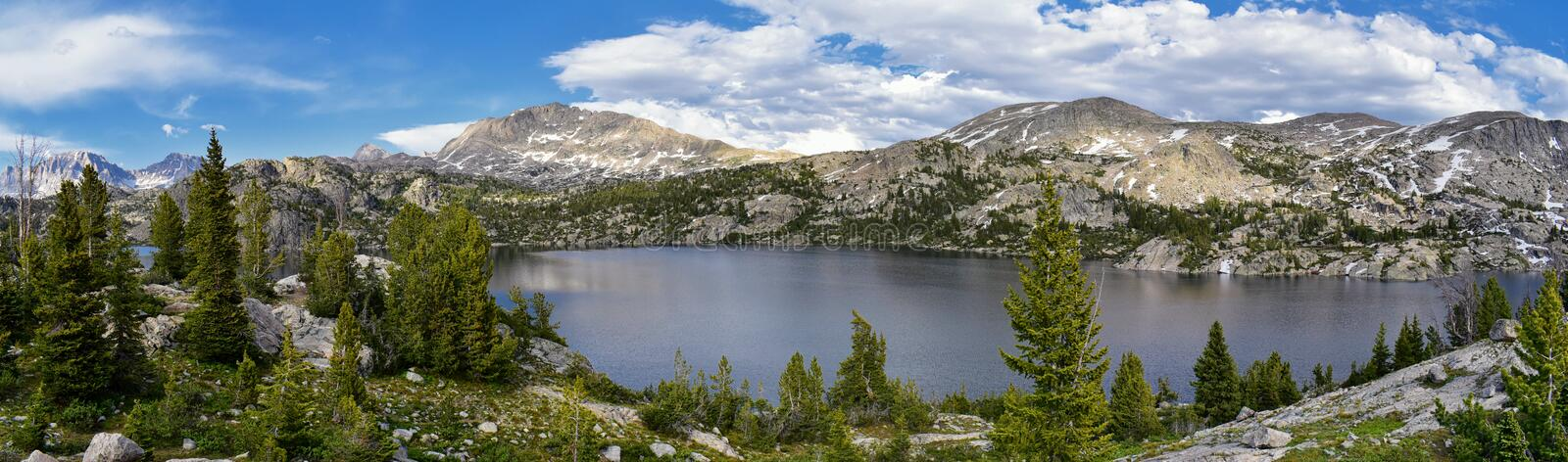 Seneca Lake in the Wind River Range, Rocky Mountains, Wyoming, views from backpacking hiking trail to Titcomb Basin from Elkhart P. Ark Trailhead going past stock photo