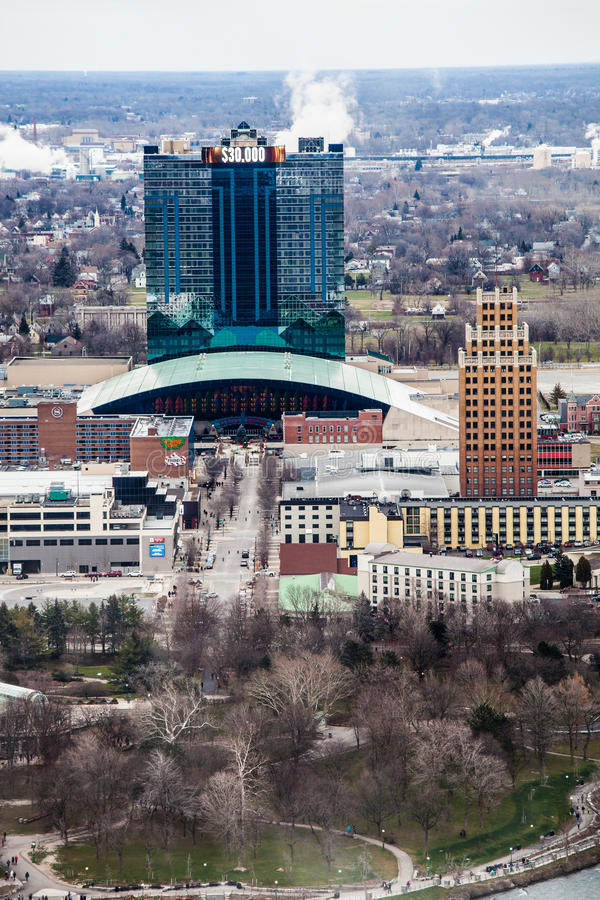 Seneca Niagara Resort & kasino, New York Niagara Falls flyg- sikt royaltyfria foton
