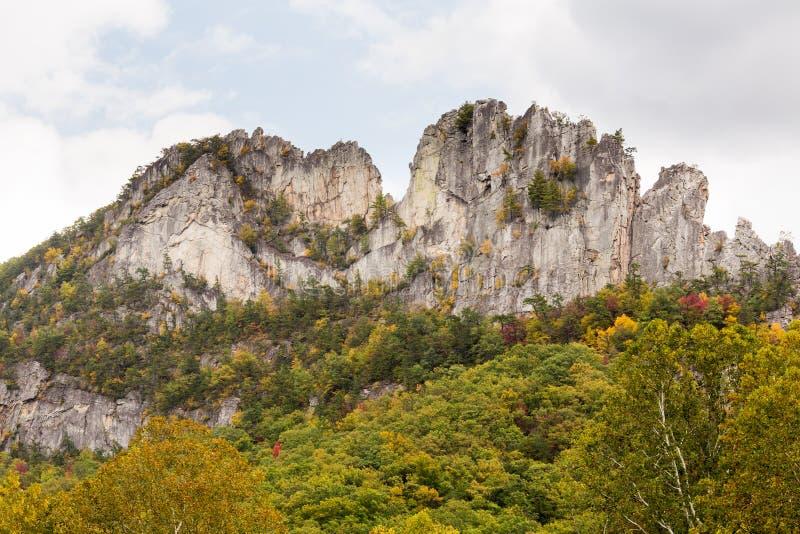 Seneca Rocks i West Virginia arkivfoton