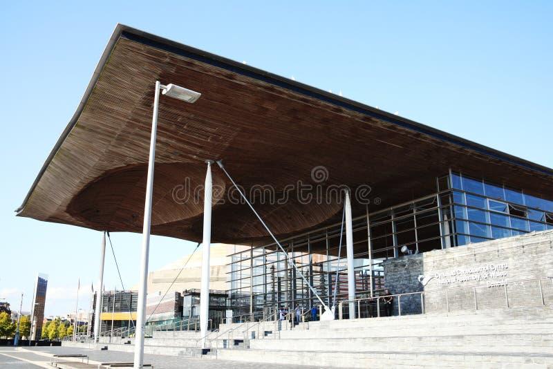 Senedd (de Nationale assembleebouw) Cardiff royalty-vrije stock foto