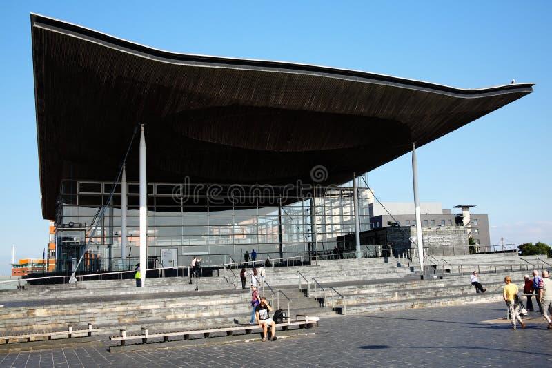 Senedd, edificio de la asamblea nacional, País de Gales foto de archivo