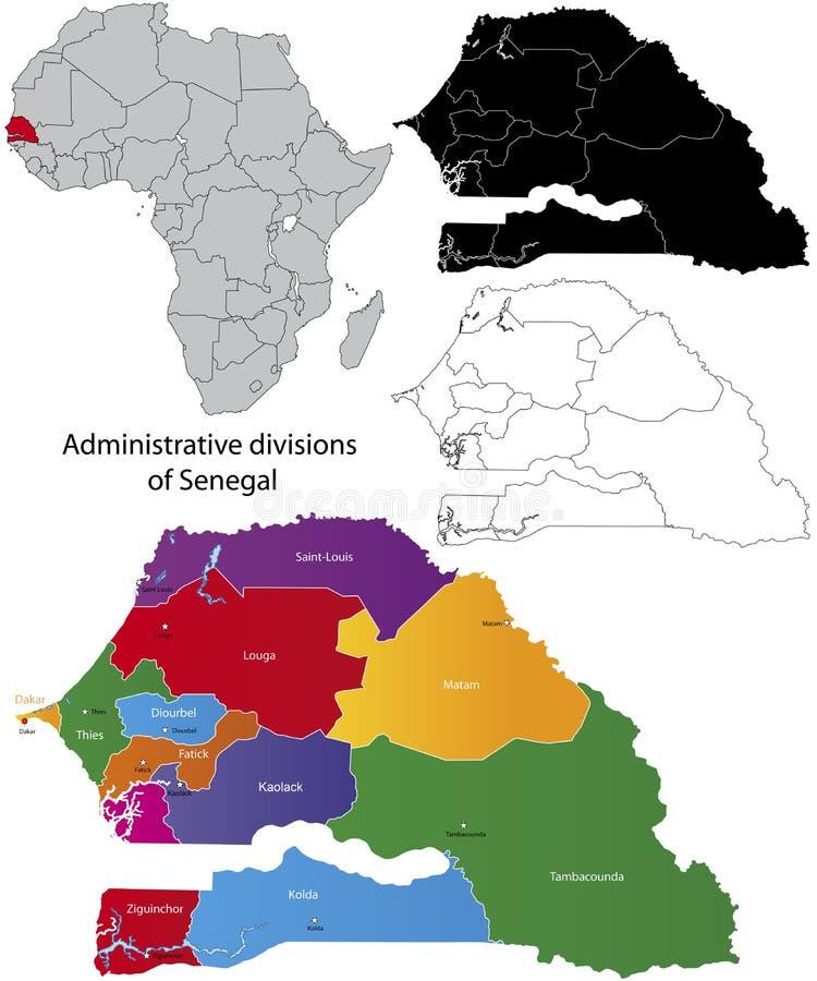 Senegal översikt vektor illustrationer