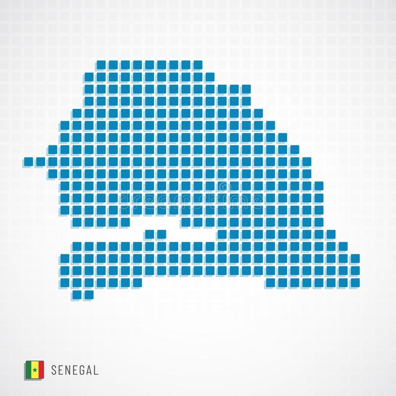 Senegal översikt och flaggasymbol vektor illustrationer