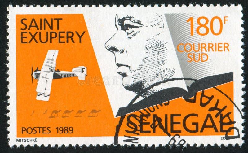 Antoine de Saint Exupery. SENEGAL - CIRCA 1989: stamp printed by Senegal, shows Antoine de Saint-Exupery, circa 1989 stock photography