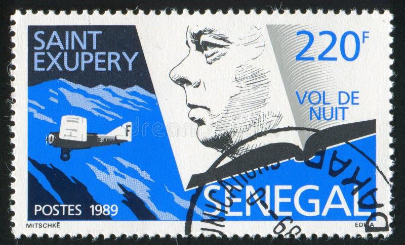 Antoine de Saint-Exupery. SENEGAL - CIRCA 1989: stamp printed by Senegal, shows Antoine de Saint-Exupery, Night flier, circa 1989 stock photography
