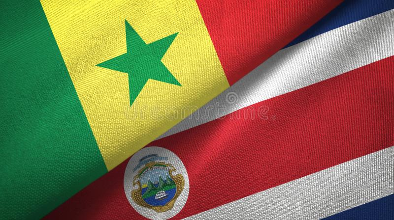 Senegal and Costa Rica two flags textile cloth, fabric texture stock illustration