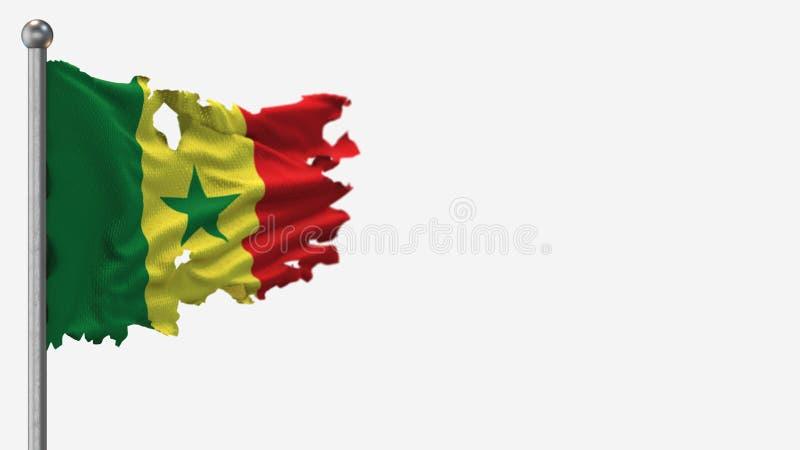 Senegal 3D tattered waving flag illustration on Flagpole. stock illustration