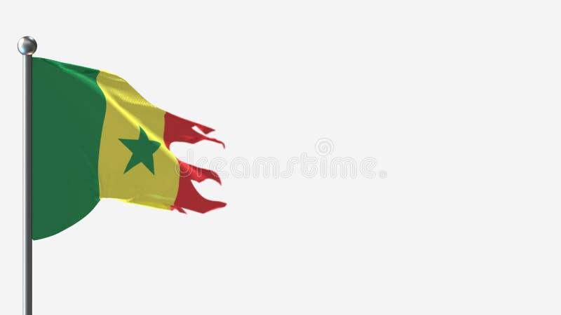 Senegal 3D tattered waving flag illustration on Flagpole. vector illustration