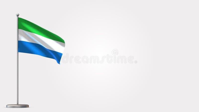 Senegal 3D waving flag illustration on flagpole. stock illustration