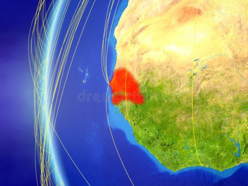 Senegal do espaço com rede ilustração royalty free