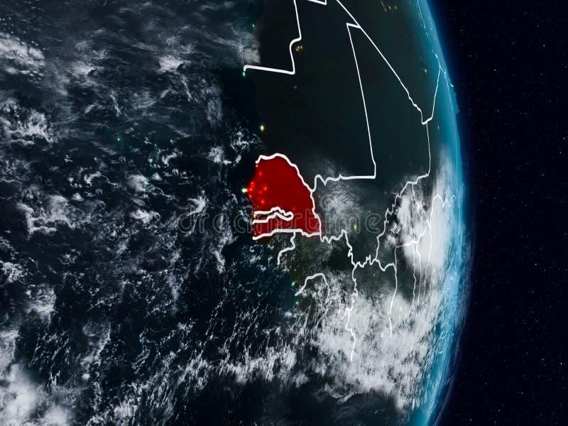 Senegal do espaço na noite ilustração stock