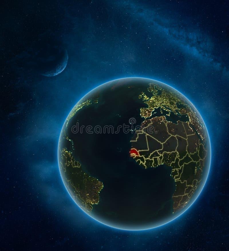 Senegal do espaço na noite ilustração do vetor