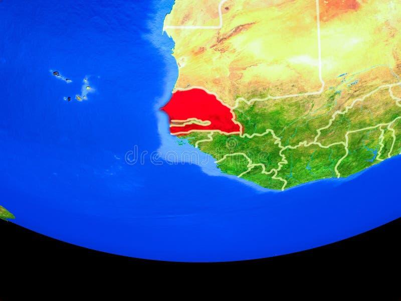 Senegal do espaço na terra ilustração royalty free