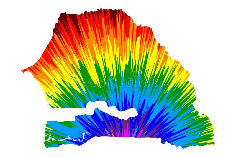Senegal - el mapa es el modelo colorido diseñado del extracto del arco iris, república del mapa de Senegal hizo de la explosión d ilustración del vector