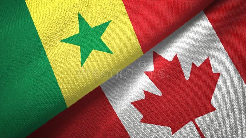 Senegal en Canada twee vlaggen textieldoek, stoffentextuur royalty-vrije illustratie