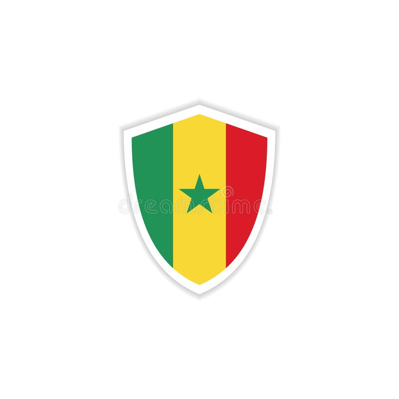 Senegal Flag Emblem Vector Template Design Illustration. Color national background waving symbol texture water realistic country state fabric wind silk abstract royalty free illustration