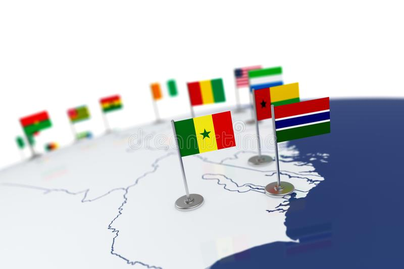 Senegal flag stock illustration illustration of original 106785958 senegal flag country flag with chrome flagpole on the world map with neighbors countries borders 3d illustration rendering flag gumiabroncs