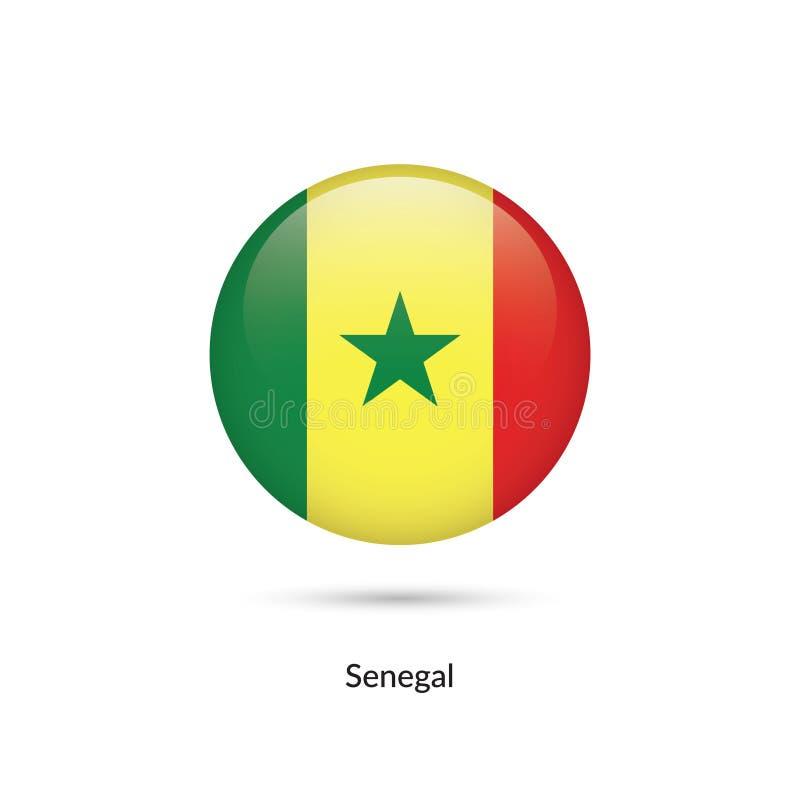Senegal flagga - rund glansig knapp vektor illustrationer